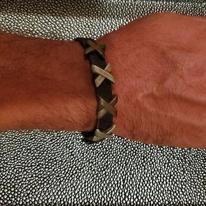 Bed Stu Brown Leather Bracelet with Metal X🔥